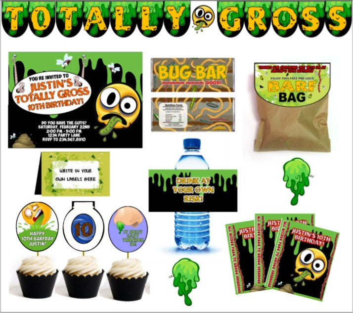 Totally Gross Party Printables - PERSONALIZED