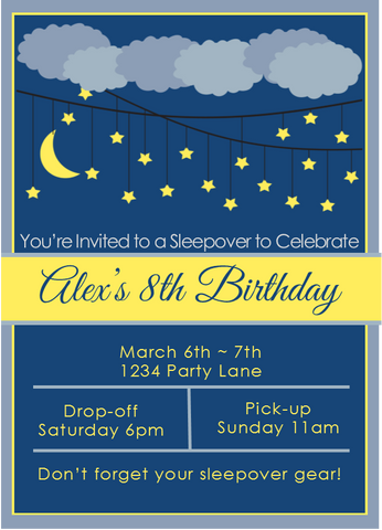 Under the Stars Sleepover Invitation - Editable!