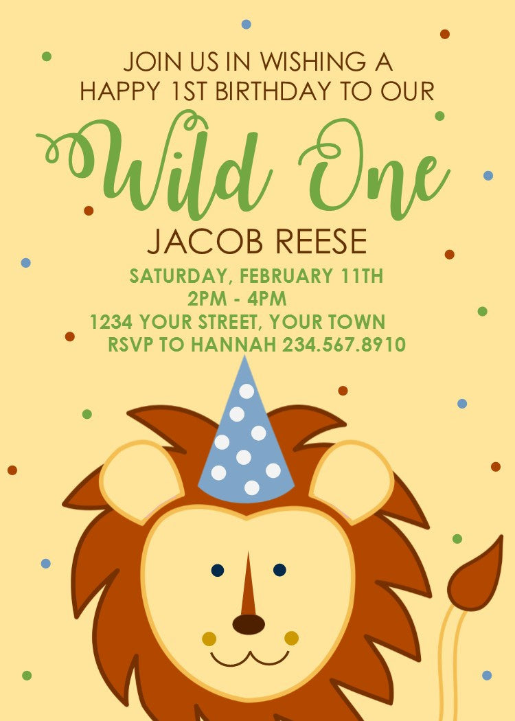 Wild One 1st Birthday Party Invitation - Editable!