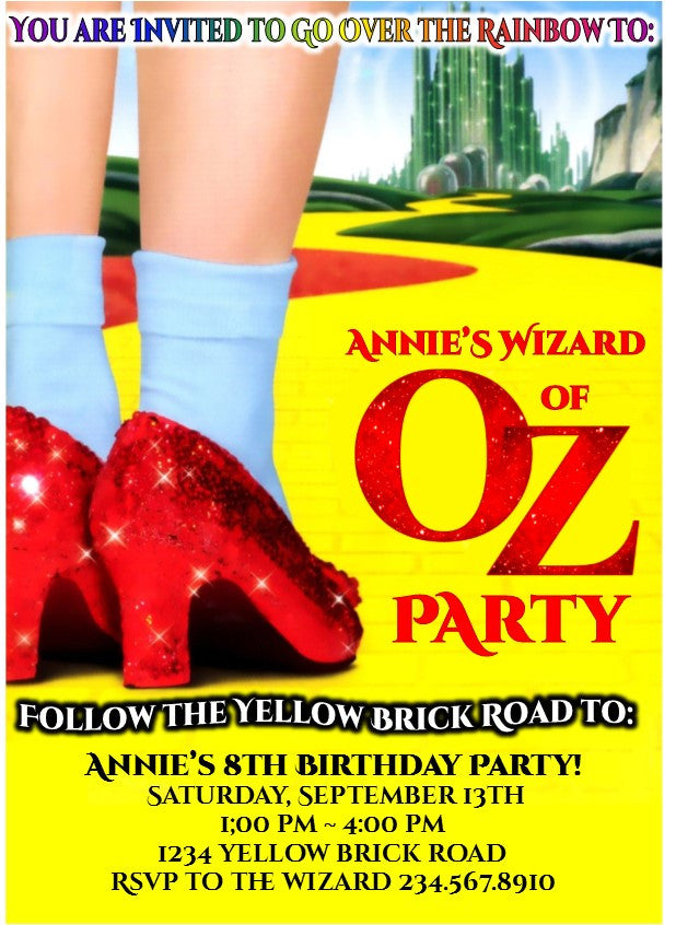 Wizard of Oz Party Invitation - EDITABLE