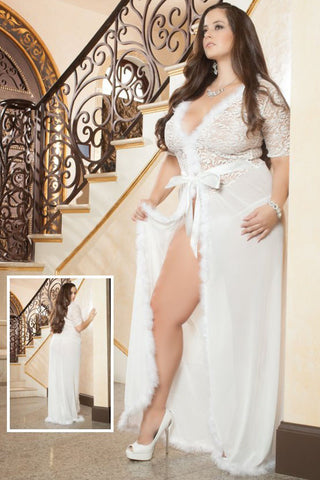 Plus Size Fur Trim Glam Night Robe