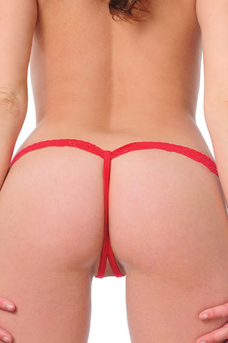 Red Strappy Lace Thong