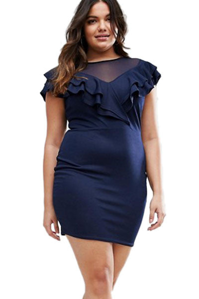 Navy Blue Plus Ruffle Shoulder Dress with Mesh Insert