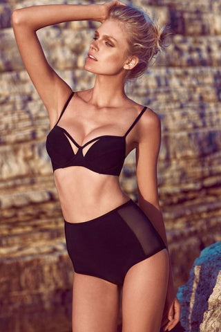 Black Mesh Cutout High-waisted Bikini Swimsuit