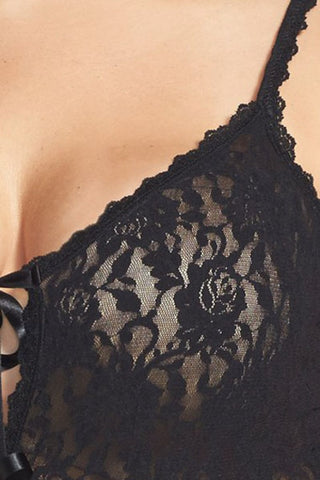 Black Lace Open Gusset Teddy Lingerie