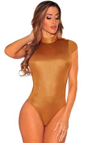 Antique Brass Sexy Cutout Mock Neck Bodysuit