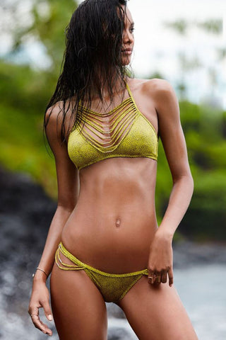 2pcs Strappy Drape Detail Halter Bikini Swimsuit