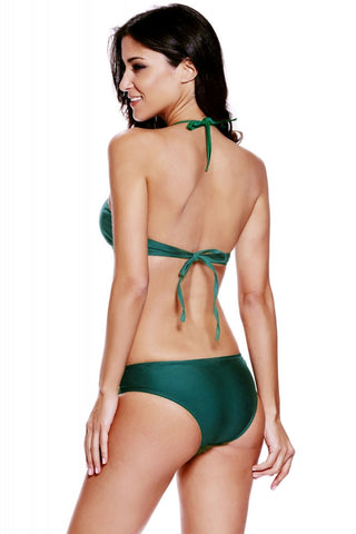 Dark Green Cut Out Vintage Pinup Two Piece Tankini