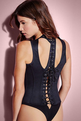 12 Steel Bones Chic Rivet Trim Corset with Thong