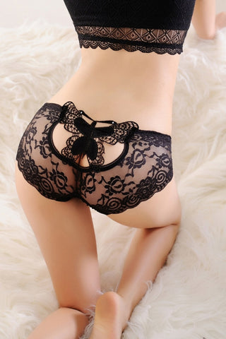Black Sheer Lace Undershorts Butterfly Accent