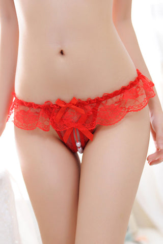 Red Sheer Lace Ruffle Beaded Open Crotch G-string