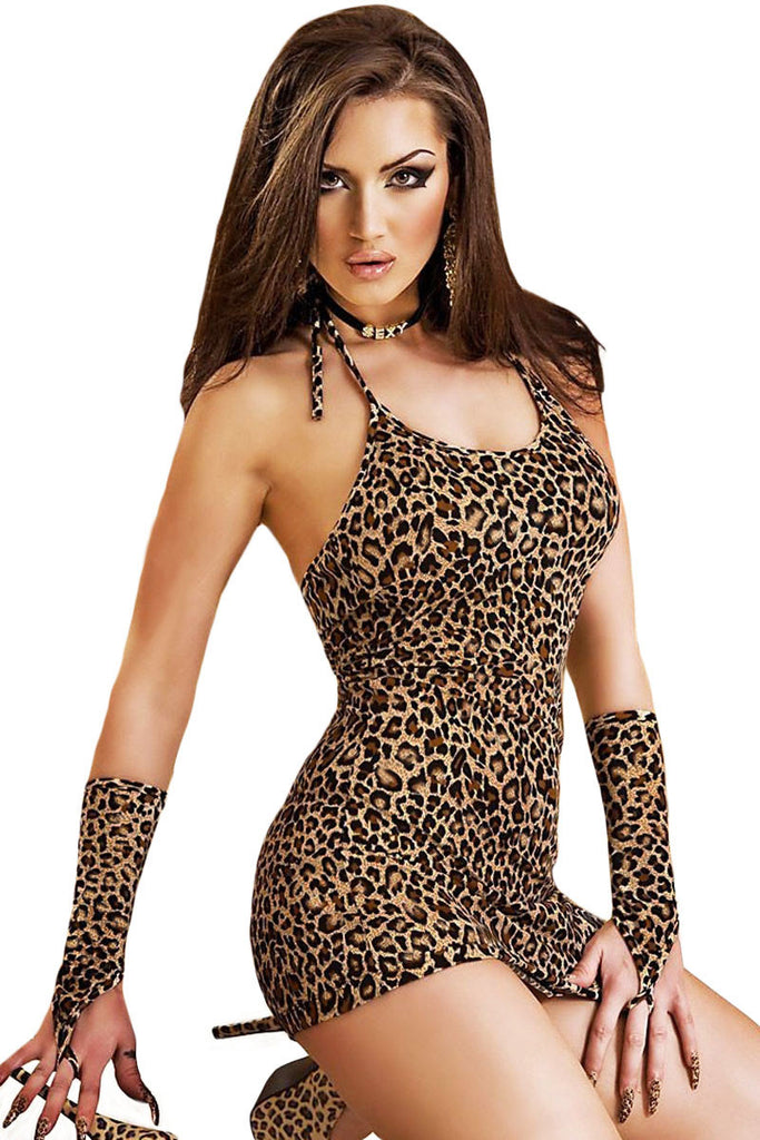 Leopard Chemise Dress with Gloves