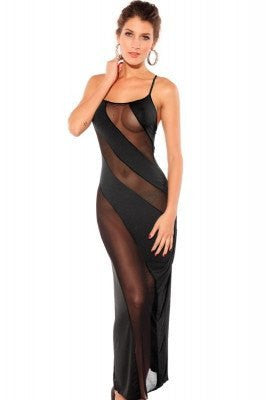 Bias-cut Mesh Illusion Gown Black