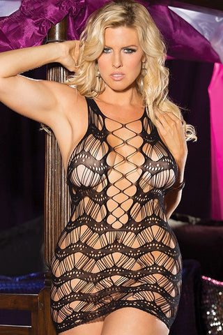 Plus Black Crocheted Lace Hollow-out Chemise Dress