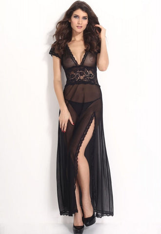 Plus Size Black Mesh and Lace V Neck Lingerie Gown