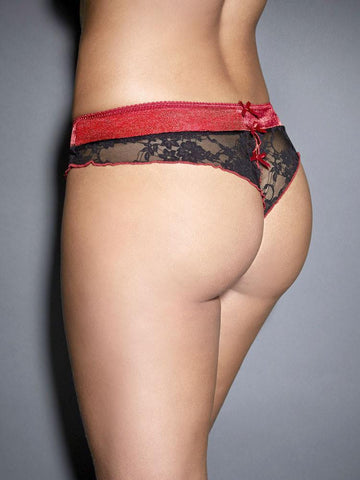 Satin and Lace Open Panel Panty