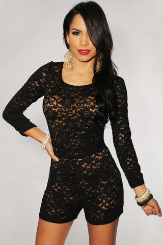Plus Size Black Lace Nude Illusion Knotted Key-Hole Back Romper