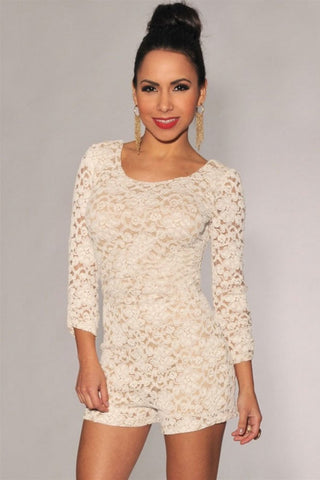 Plus Size White Lace Nude Illusion Knotted Key-Hole Back Romper