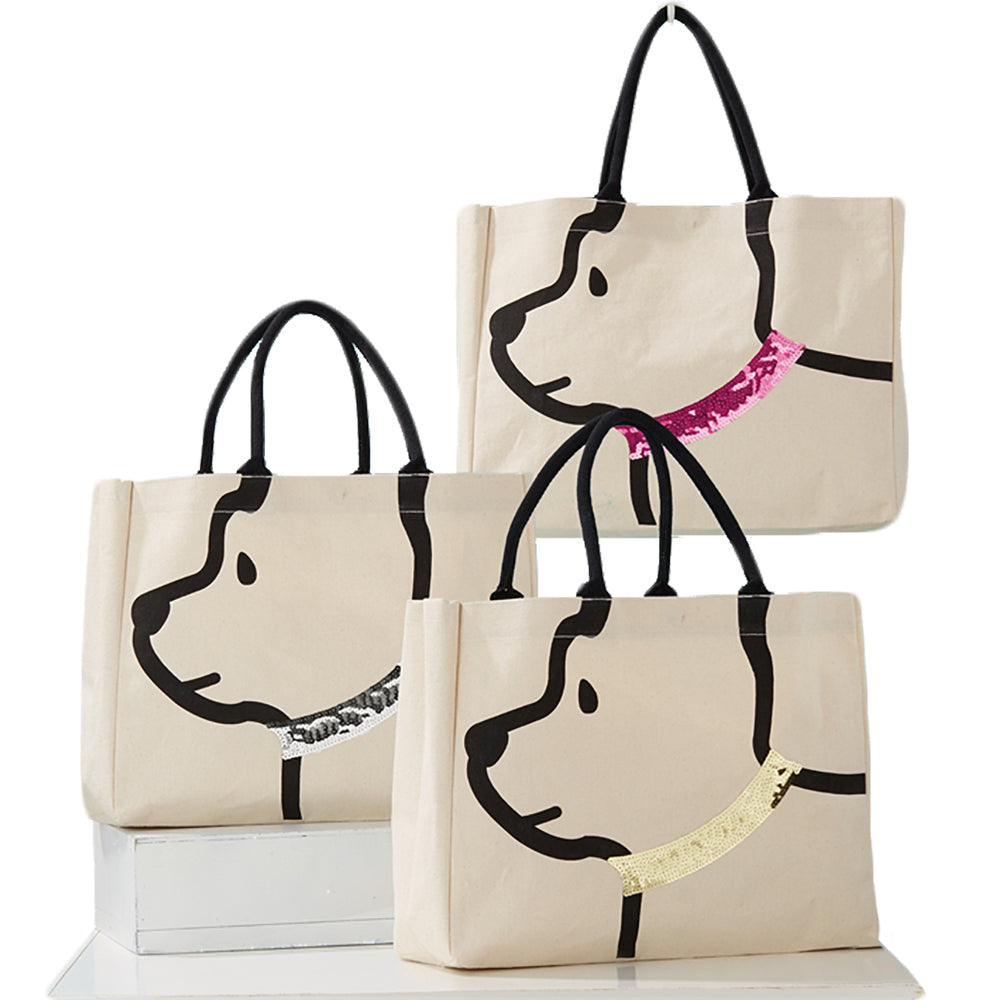 Sequined doggie tote
