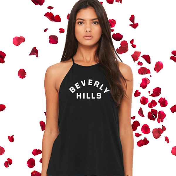 Beverly Hills High Neck Black Tank Top