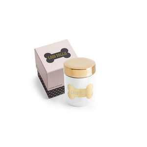 Gold and white dog treat jar