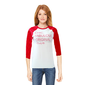 Women's Beverly Hills baseball tee in red and white