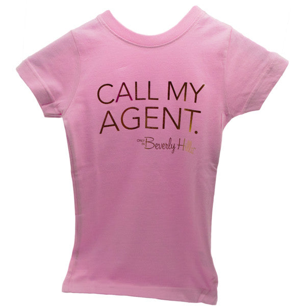 Girls pink Call My Agent tee from Beverly Hills