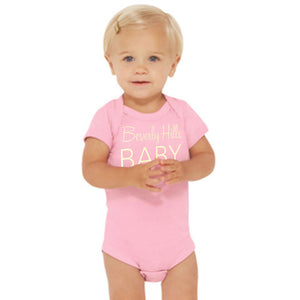 Beverly Hills 90210 baby girl onesie pink and gold