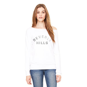 White Beverly HIlls slouchy sweatshirt with silver foil