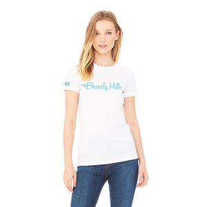 beverly hills white womens tee shirt