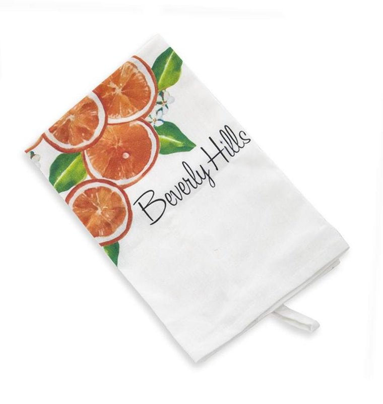 Beverly Hills oranges tea towel