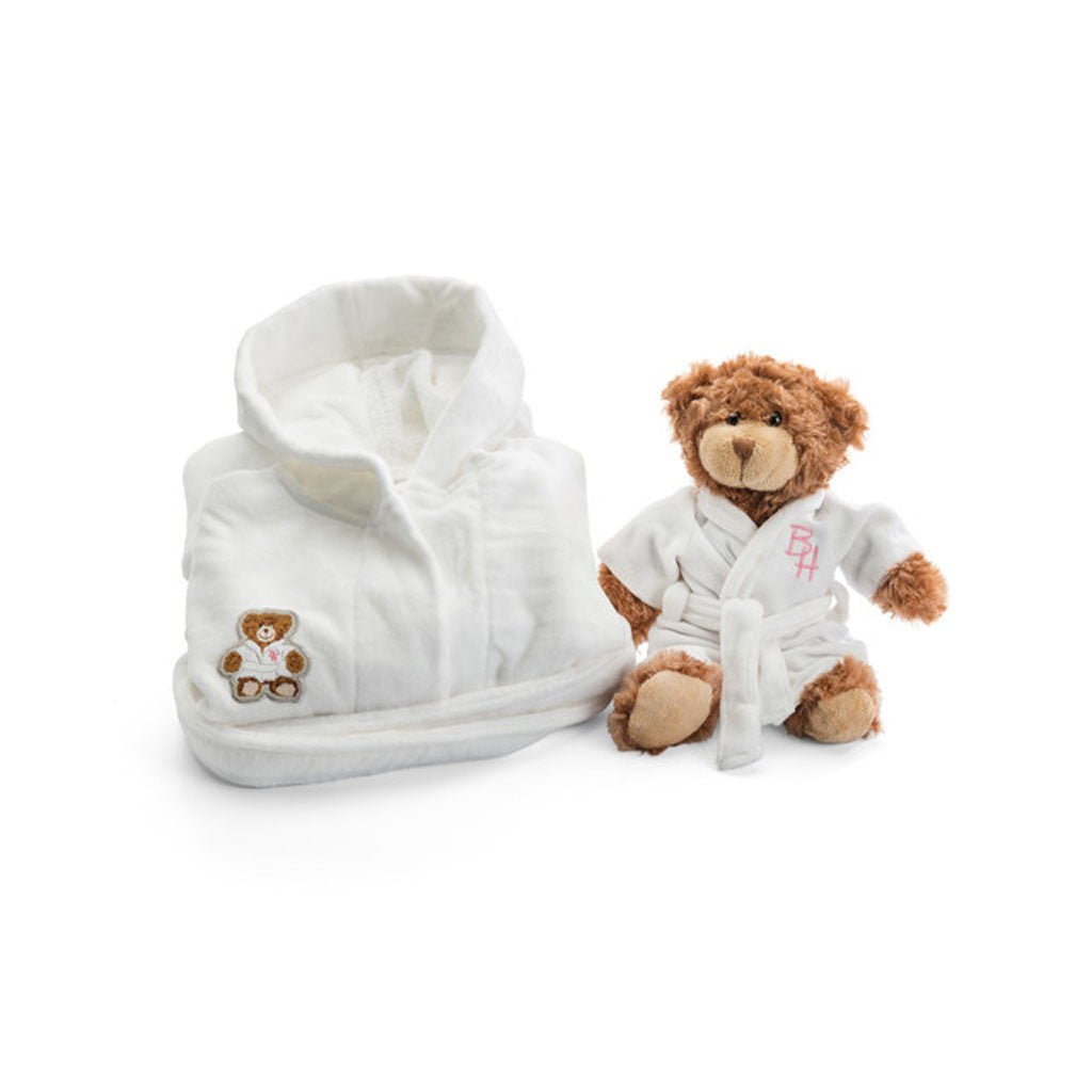 Girls Beverly Hills robe and teddy bear