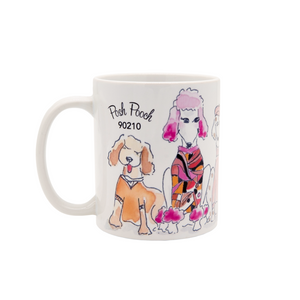 Beverly Hills 90210 coffee mug with dogs