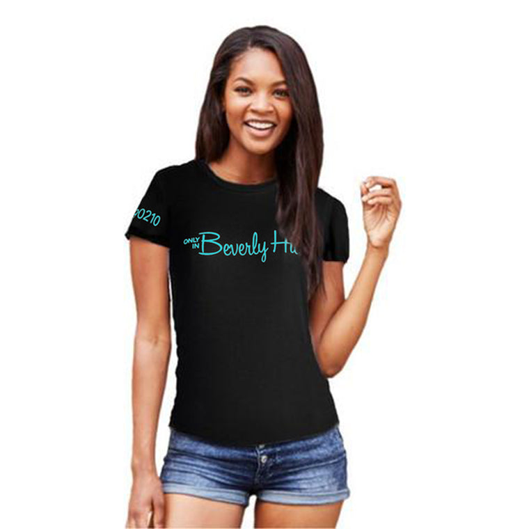 Black fitted Beverly Hills 90210 tee shirt