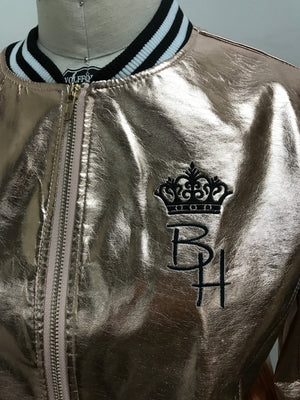 Rose Gold Embroidered Bomber Jacket with crown