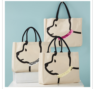 Sequined doggy tote