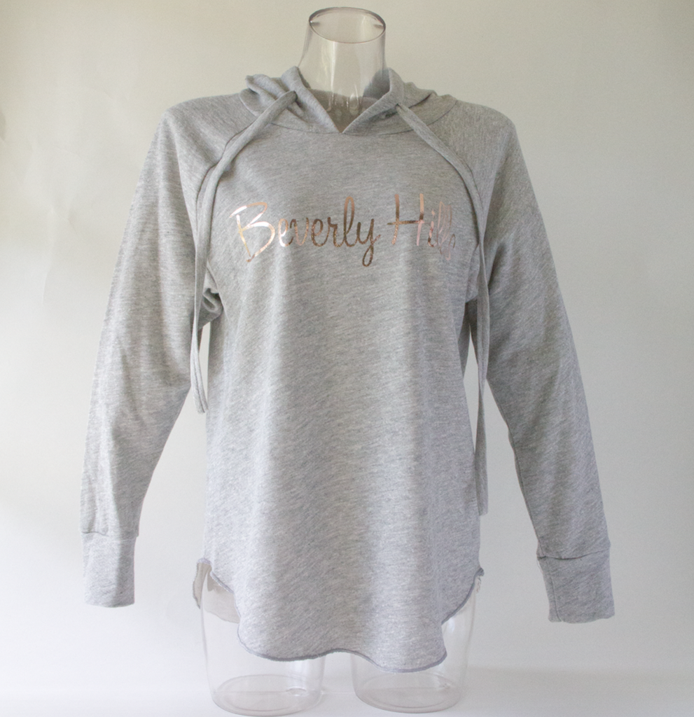 Beverly Hills grey women's hoodie with rose gold lettering