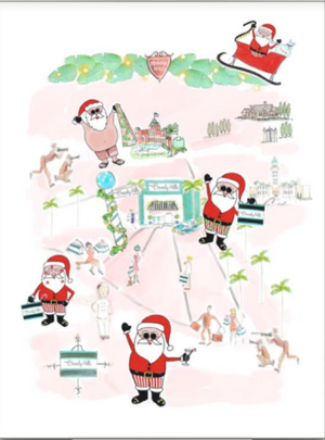 Watercolor Santa Sightings Tea Towel
