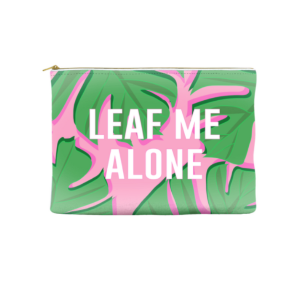 Pink Palm Leaf Zip Pouch