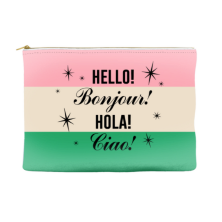 pink green and white zip pouch