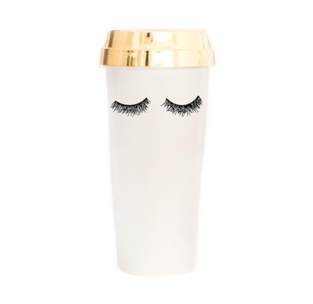 Travel coffee mug with eyelashes and gold lid