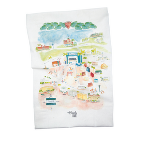Watercolor Beverly Hills Tea Towel