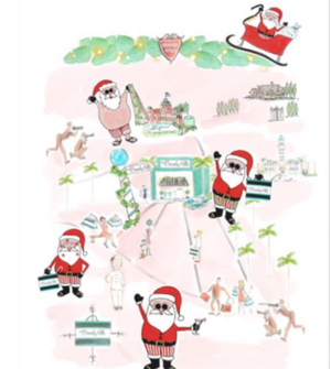 watercolor beverly hills santa tea towel