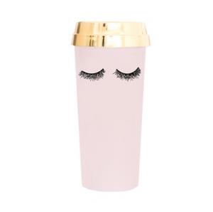 Pink travel mug with gold eyelashes
