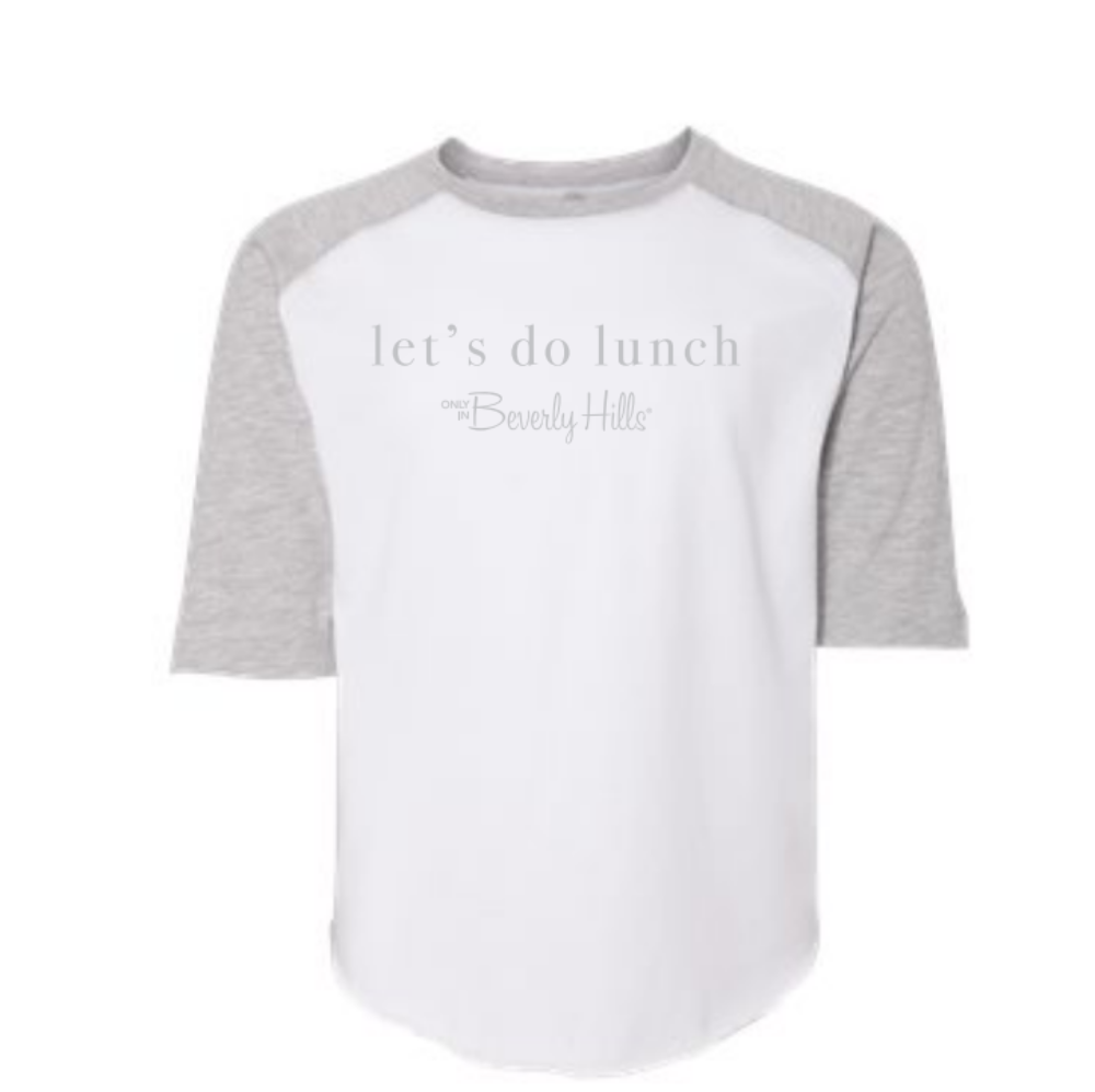 Beverly Hills toddler let's do lunch gray baseball jersey