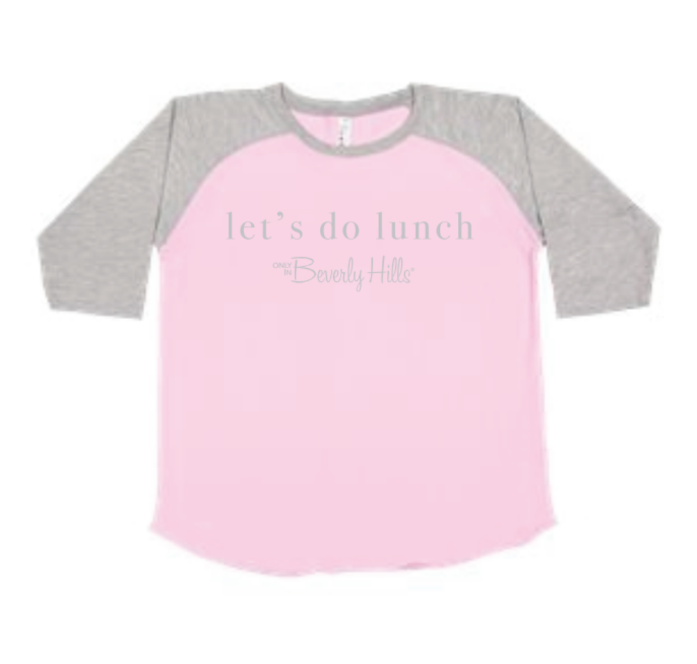 Beverly Hills toddler let's do lunch pink baseball jersey