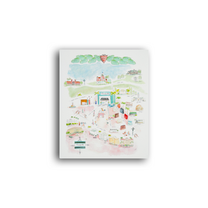 Whimsical Only in Beverly Hills watercolor map
