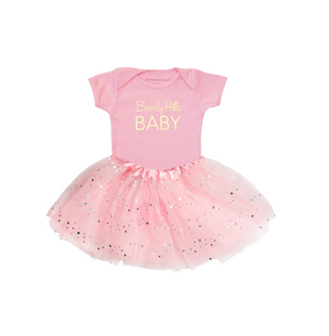 Beverly Hills baby girl onesie and tutu pink and gold
