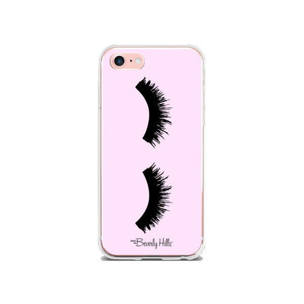 Beverly Hills pink eyelashes iPhone case