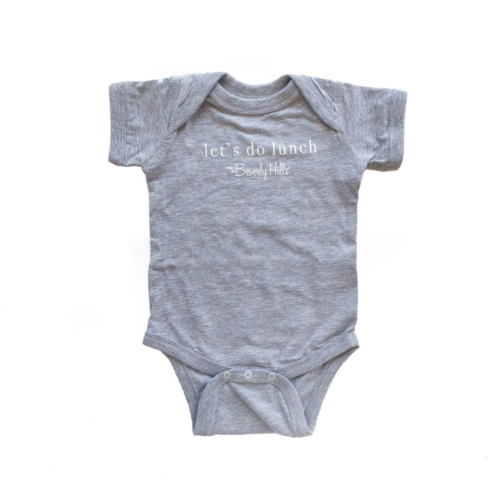 gray baby onesie beverly hills let's do lunch